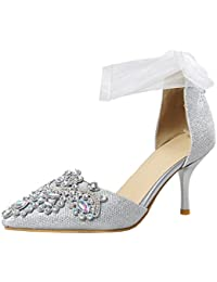 Artfaerie Damen Pointed Toe D'orsay Sandalen mit Riemchen und Strass Stiletto High Heels Pumps Elegante Hochzeit Braut Schuhe
