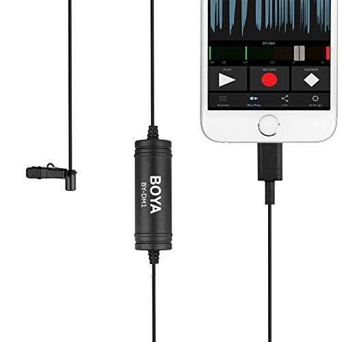 Boya BY-DM1 Lavalier-Mikrofon mit Ansteckmikrofon mit Lightning-iOS-Schnittstelle für iPhone X 8 7 Plus iPad Pro Mini iPod Touch für Youtube Video Vblog Podcast Micro Film Touch Iphone Video