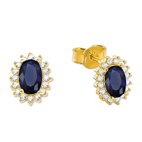 amor Damen-Ohrringe mit Royalblauen Zirkonia aus Gold 375