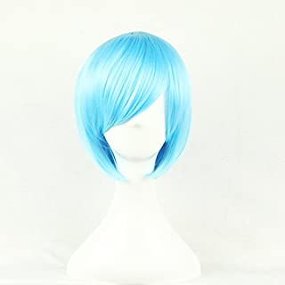 Womens Ladies Girls 32cm Blue Short Hair Wigs High Quality Hair Carve Cosplay Costume Anime Party Bangs Full Sexy Wigs