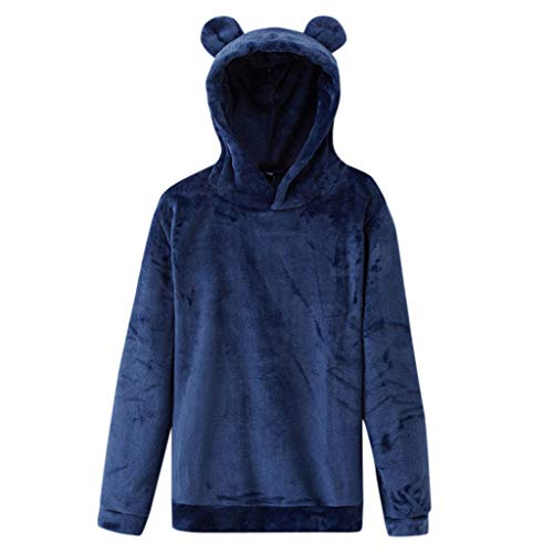Dorical Süß Kapuzenpullover für Frauen, Damen Pullover mit Kapuze und Rabbit Ohr Pullovern Casual Winter Teddy-Fleece Langarm Oversize Sweatshirt Mantel Tops Langarmshirt Sweatshirt(Marine,Large)