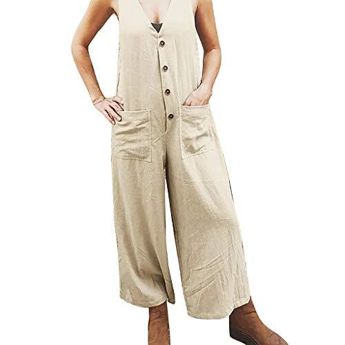 Ncenglings Damen Ärmellos Jumpsuit, Sommer Kleidung Button Weste Overall Sexy Schulterfrei Hosenanzug Frauen Solide Mode Jumpsuit mit Taschen Breites Bein Rompers Lang Hosen Romper (2XL, Beige)