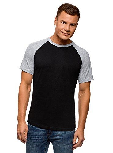 oodji Ultra Herren Baumwoll-T-Shirt mit Kontrasten Raglan-Ärmeln, Schwarz, XL -