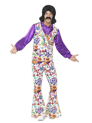 Kostüm Männer Hippie - Smiffys Herren 60er Jahre Groovy Hippie Kostüm, Weste, Hemd und Schlaghose, Größe: XL, 44904