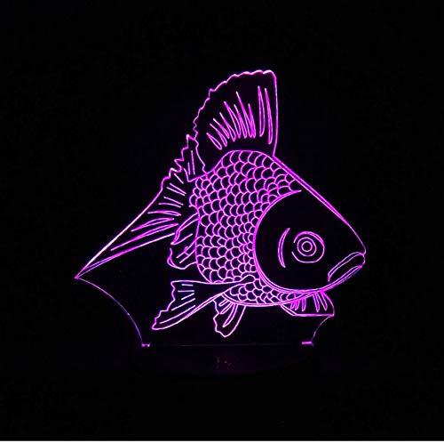 ed 3D Gold Fisch Nachtlicht 7 Farbwechsel Tisch Schreibtischlampe Kinder Schlafen Schlafzimmer Spielzeug Weihnachten Neujahr Kinder Geschenk ()