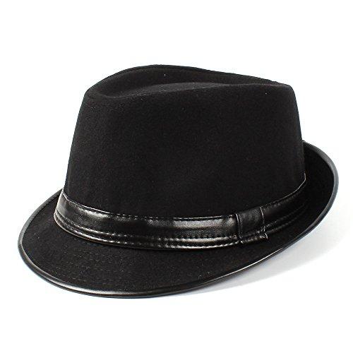 SKKMALL Filz Fedora Hut Gentleman Papa Jazz Homburg Pate Hut für Frauen Männer (Color : Black, Size : 58CM)