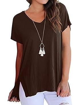 Maistore Camiseta para Mujer con Cuello en V Camiseta Básica Suelta de Manga Corta bajo Dobladillo Alto