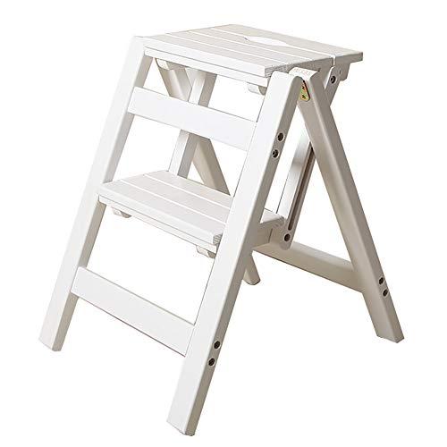 Stehleitern Folding Wood 2 Step Ladder Hocker ,Multifunktionaler Tritthocker Blumenständer/Schuhbank/Ablagefach, Tragende 150kg (Farbe : Weiß)