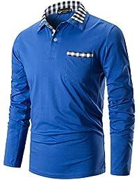 STTLZMC Polo Hombre Mangas Largas Camisetas Moda Plaid Cuello Slim Fit  Jersey 100% Algodón Golf 6bd92417f951d
