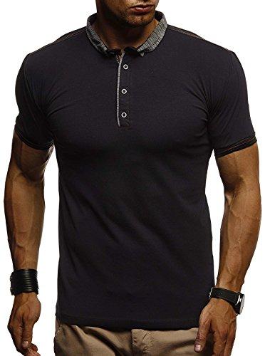 LEIF NELSON Herren Sommer Polo Shirt Poloshirt Sportshirt T-Shirt Freizeit Hemd Hoodie Slim Fit LN1310; Large, Schwarz