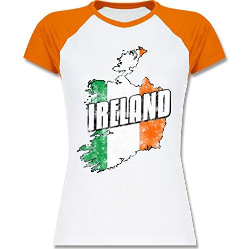 Shirtracer Länder - Ireland Umriss Vintage - Zweifarbiges Baseballshirt/Raglan T-Shirt für Damen Weiß/Orange