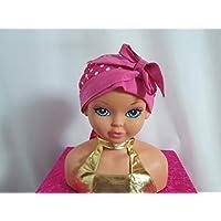 Foulard chimio enfant, turban fuchsia à pois blanc