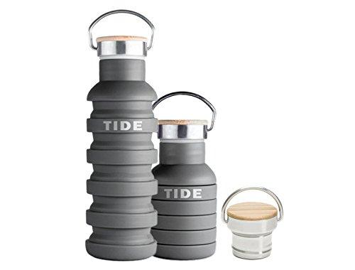 Faltbare Trinkflasche 0,5 Liter aus Silikon mit Design Holzdeckel für Reisen, Camping & Sport - Auslaufsichere, leichte und flexible Silikon Reiseflasche (Wasserflasche) - BPA Frei