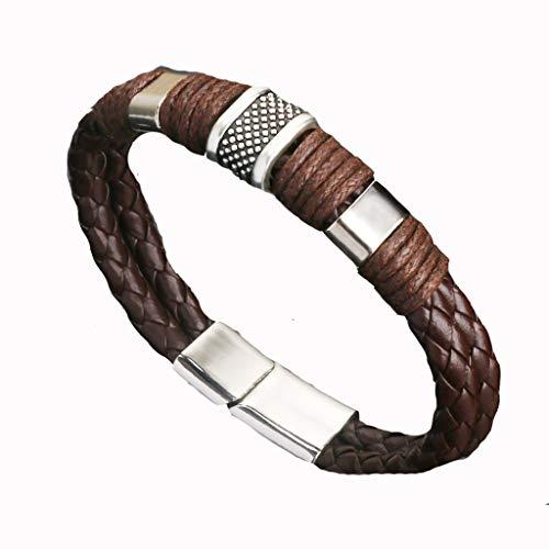 Schmuck Herren Vintage-Schmuck, Magnet Schnalle Armband Mode Leder PersöNlichkeit HerrschsüChtig Leder Seil Armband