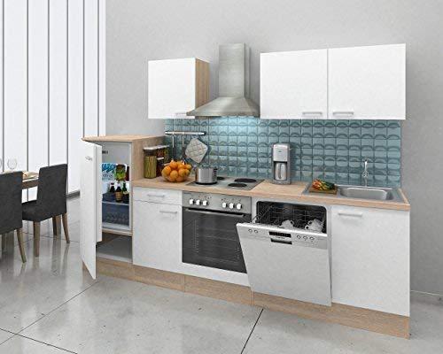 respekta Integrado Cocina ángulo Cocina Cuaderno Cocina 280cm Roble Natura Replica Blanco