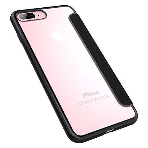 Dexnor Flip Cover Custodia a Specchio per iPhone 6S / 6, Lusso Book Style Mirror Case Trasparente Copertura TPU Gel Sottile Morbido Back Cover Protettiva Bumper Cuoio Caso per iPhone 6S / 6 - Schwarz Schwarz
