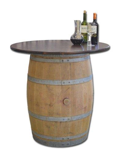 Dekofass, Stehtisch aus echtem Weinfass, Gartentisch mit Tischplatte Nussbaum D100 cm - Fass natur unbehandelt