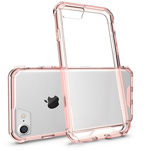 Housse AVIDET pour étuis téléphonique iPhone 8  iPhone8 Étuis transparents pour TPU + Étui en acrylique pour Fundas iPhone 8  iPhone8 (Transparent) Or Rose