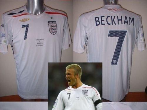 Umbro BNWOT Fußballtrikot David Beckham, England vs. Brasilien im Wembley-Station, Größe L