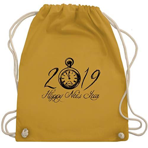 Weihnachten & Silvester - Happy New Year 2019 Uhr Vintage - Unisize - Senfgelb - WM110 - Turnbeutel & Gym Bag
