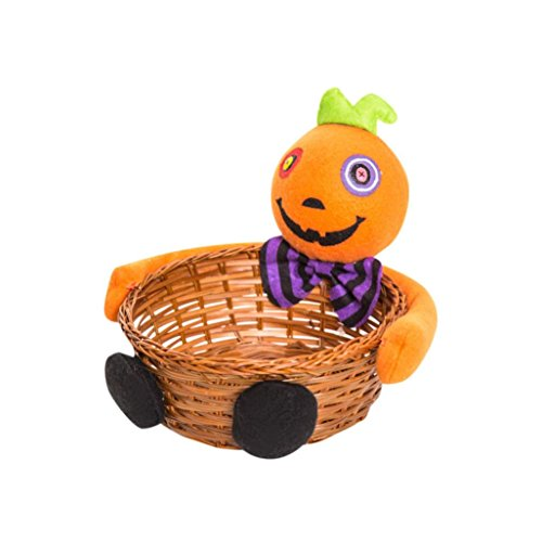 Xmansky Halloween Party Hexen Geister Fledermäuse Kürbisse Süßigkeiten Lagerung Korb Geschenk (Orange) (Bein Lampe Halloween Kostüm)