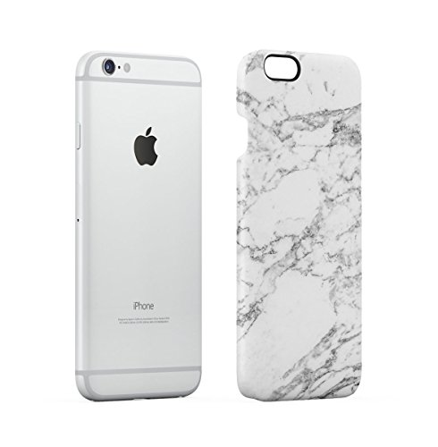 Black Cracked Marble Stone Print Apple iPhone 6 , iPhone 6S Snap-On Hard Plastic Protective Shell Case Cover Custodia Natural Grey