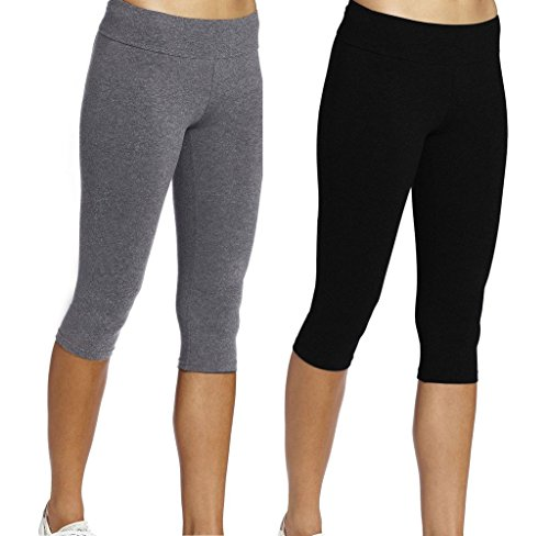 iLoveSIA Damen Yoga Hose Gr. X-Small, 2Pack (Black+Grey) (Spandex Womens Pants Capri)