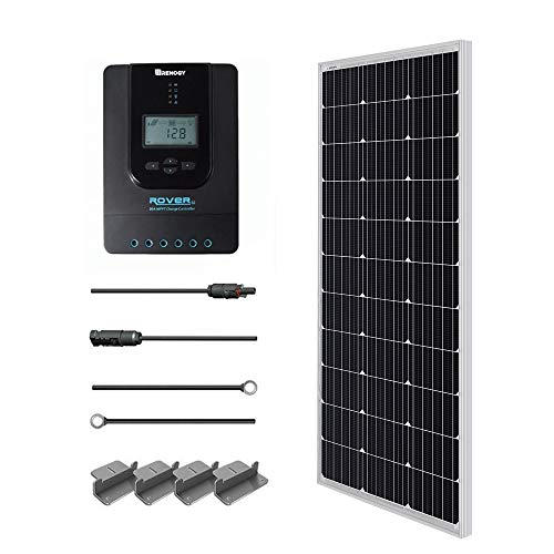 Renogy Solaranlage Basic-Starter Bausatz mit 100W 12V Monokristallin Solarmodul, SolarKabeln und 12V MPPT 20A SolarLaderegler Negativ-Erdung Camping, RV,Camper,Wohnwagen -
