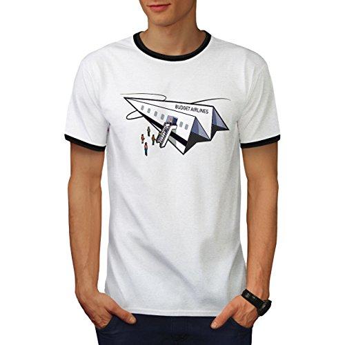 wellcoda Budget Fluggesellschaft Männer T-Shirt Zurück Papier Ebene Grafikdesign-T-Stück - Fluggesellschaften, Weißes T-shirt