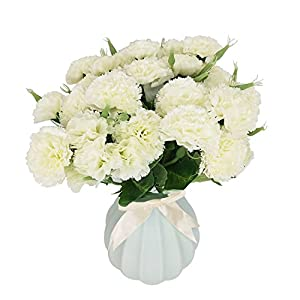 Flores Artificiales MZMing [4 piezas] Mejor Regalo 10 Flor Artificial de Clavel Flor de Seda Artificial Arbusto de Boda…