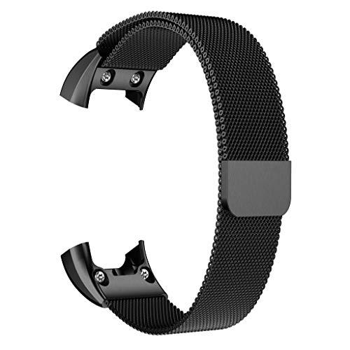 TianranRT Milanese Magnetisch Schleife Edelstahl Watch Band Gurt Für Garmin VIVOsmart HR (Schwarz)