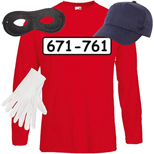 Bandit Kostüm Mädchen - Shirt-Panda Herren Langarm Panzerknacker Kostüm + Cap + Maske + Handschuhe Verkleidung Karneval SET05 T-Shirt/Cap/Maske/Handschuhe XL