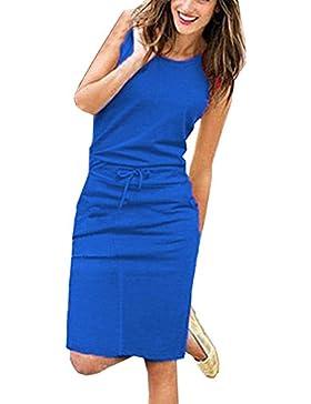 Beachwear Trajes de Vestir Sin Mangas Cuello Redondo Mujer Lápiz Vestido de Playa Por la Rodilla Vestidos de Partido