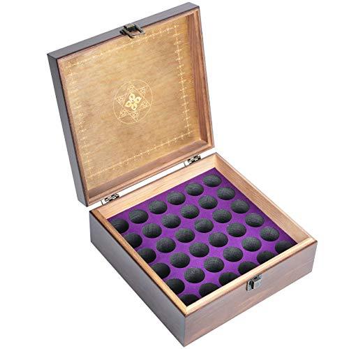 Beschan Hölzern 36 Löcher Aromatherapie Aufbewahrungsbox Ätherisches Öl Tasche Tragbare Ölbox Ölflaschen Holzfach Schwarz -