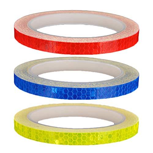 LIOOBO 3pcs wasserdichtes reflektierendes Band Leuchtband Sicherheitswarnlicht reflektierende Aufkleber für Auto Fahrrad Motorräder (1 gelb und 1 rot und 1 blau) -