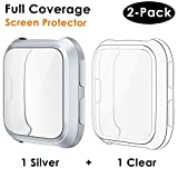 CAVN Compatible Fitbit Versa Screen Protector Case [2 Packs], TPU Plated Screen Protector Rugged Cover Full-Cover Scratch-Proof Protective Bumper Shell for Fitbit Versa Smartwatch, Clear & Silver
