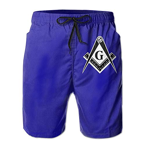 Freemason Logo Square and Compass - Men's Summer Boardshorts Casual Swim Trunks Boardshort Small -