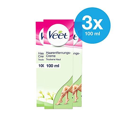 Enthaarungscreme 3er Pack bei trockener Haut für seidig glatte Beine bis zu 2x länger als bei einer Rasur Veet Haarentfernungs-Creme Silk & Fresh trockene Haut 3x100ml