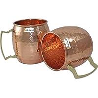 Set di 2 - Prisha India Craft ® Moscow Mule in rame solido Mug 550 ML / 18 oz - Set di 2 - 100% in puro rame martellato di qualità migliore finitura laccata, Moscow Mule Cocktail Cup, rame tazze, tazze da cocktail