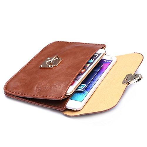 Wkae Case Cover Universal-Crazy Horse Textur Horizontal Drei Schicht Multifunktions-Leder-Schulter-Beutel für iPhone 6 Plus &6S plus ( Color : Magenta ) Brown