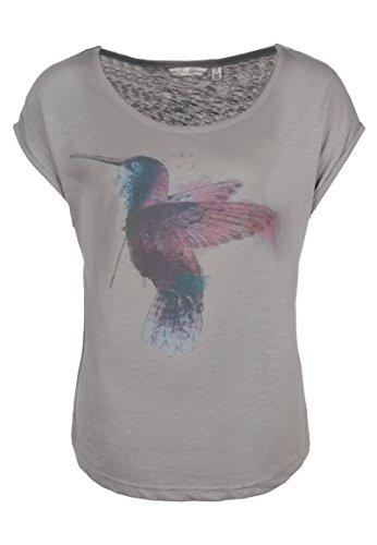 Fresh Made Kolibri Shirt | Damen T-Shirt mit Print IM Vintage Style I Frauen Sommer Top Kurzarm mit Rundhals-Ausschnitt Light-Grey L (Genial Kurze)