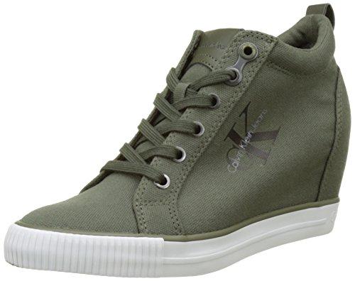 Calvin Klein Jeans Damen Khaki Ritzy Leinwand / Leinen Sneakers-UK 5 Calvin Klein Khaki