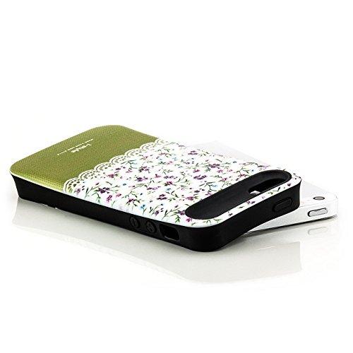 Saxonia iPhone SE 5S 5 Hülle TPU Silikon Schutzhülle Design Case mit extra Kantenschutz, Blumen Weiß-Violett Blumen Weiß-Grün