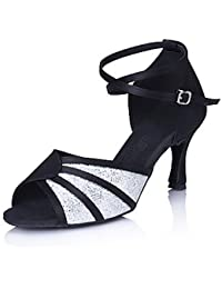 Silencio @/salón de baile zapatos de baile de la mujer latina/Salsa satinado/Sparkling Glitter Stiletto talón Multicolor, multicolor, US8 / EU39 / UK6 / CN39