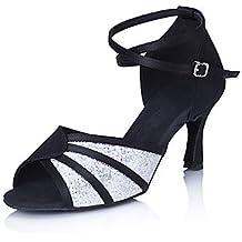 Silencio @/salón de baile zapatos de baile de la mujer latina/Salsa satinado/Sparkling Glitter Stiletto talón Multicolor, multicolor, US6.5-7 / EU37 / UK4.5-5 / CN37