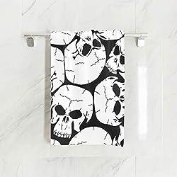 Ahomy Toallas de Mano, 38 cm x 76 cm, diseño de Calavera Blanca y Negra, Multiusos, Extra absorbentes, para baño, Mano, Gimnasio, SPA
