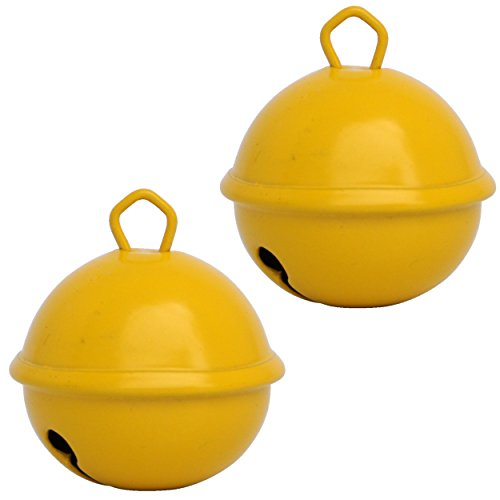 Glöckchen Gelb Farbe - 2 X Glöckchen schellen 35 mm - schön laut sound - Mehr als 16 farben in 3 Größen Glöckchen zum basteln, kreatives Gestalten baby, kinder, senioren