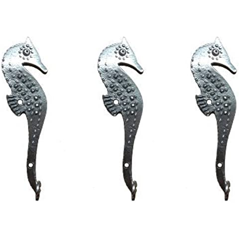 Crosby & Taylor Seahorse Pewter Lightweight Hooks, Set of 3 by Crosby & Taylor