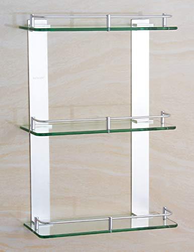 ZWJ Hochwertiges Küchen-Badezimmer-Regal, Raum-Aluminium Dreischichtiges Glas-Regal-Badezimmer-Badezimmer-stöckiges Gestell-quadratische Plattform-Regale (eine Vielzahl der Größen, zum von zu wählen) - Quadratische Glas-plattform