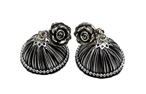 Soundarya Lahari Black & White Colored, Resham / Silk Thread Jhumka Earrings with Attached Alloy-Metal Stud